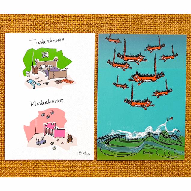 Ansichtkaarten illustratie drukken