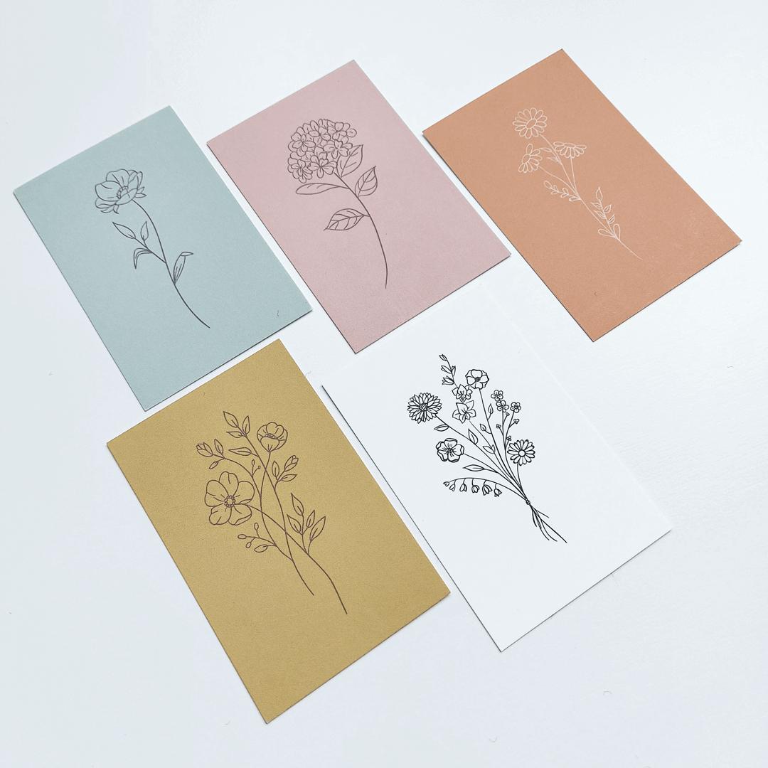 Kaarten op structuurpapier