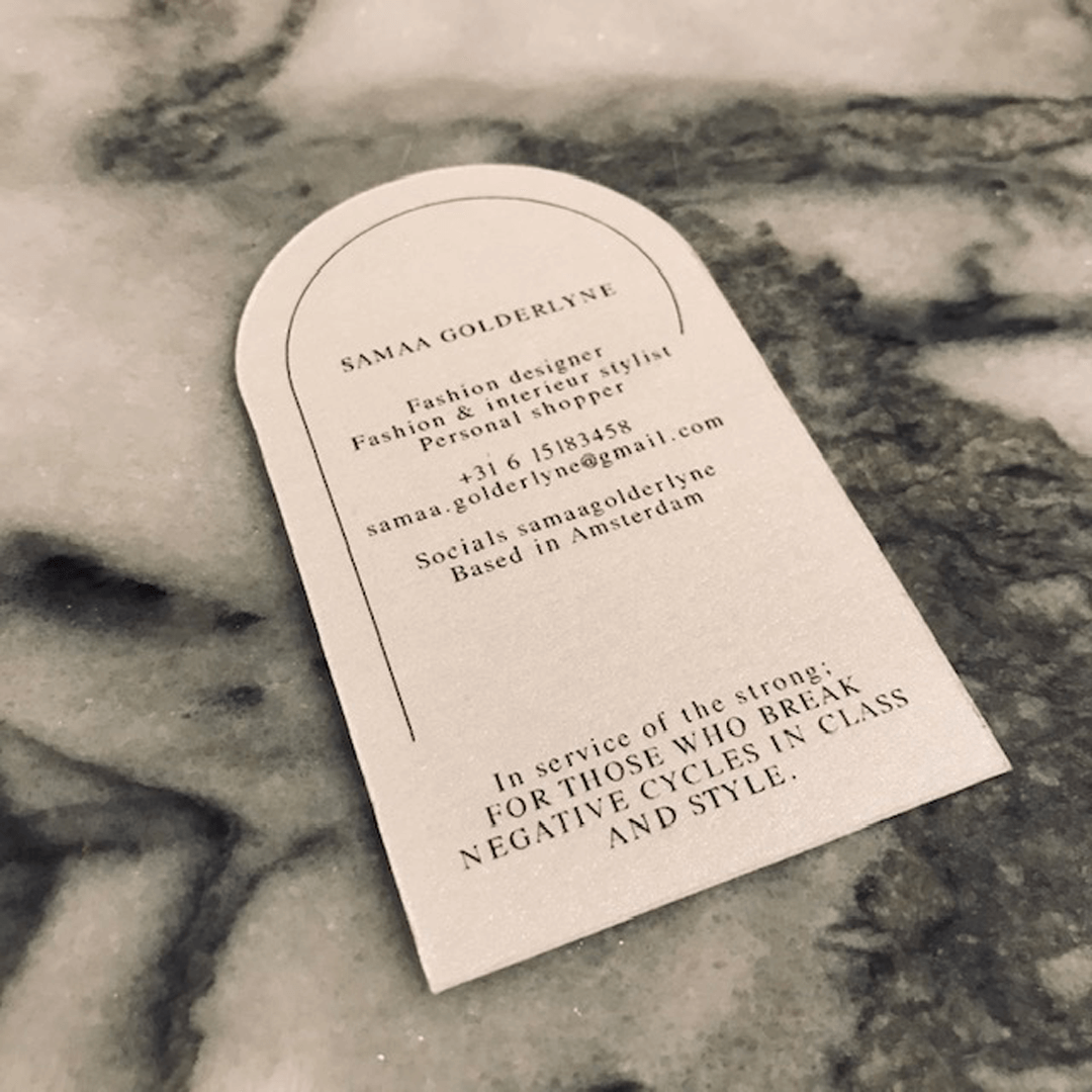 Visitekaartje gestanst