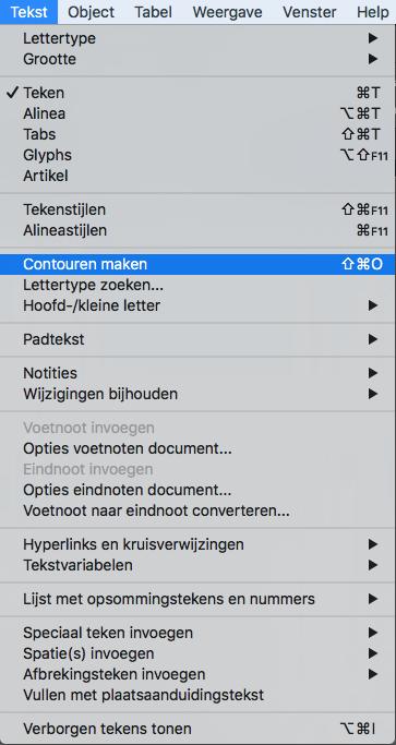 Lettertypes omzetten naar contouren in InDesign
